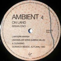 BRIAN ENO Ambient 4 (On Land) Vinyl Record LP Virgin EMI 2018